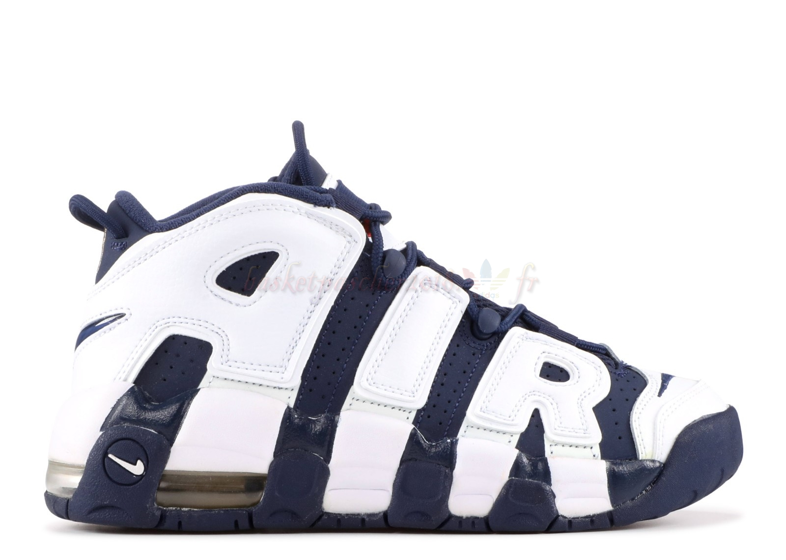 "Vente Chaude Chaussures De Basketball Enfant Nike Air More Uptempo (Gs) ""Olympic"" Blanc Marine (415082-104) Pas Cher"