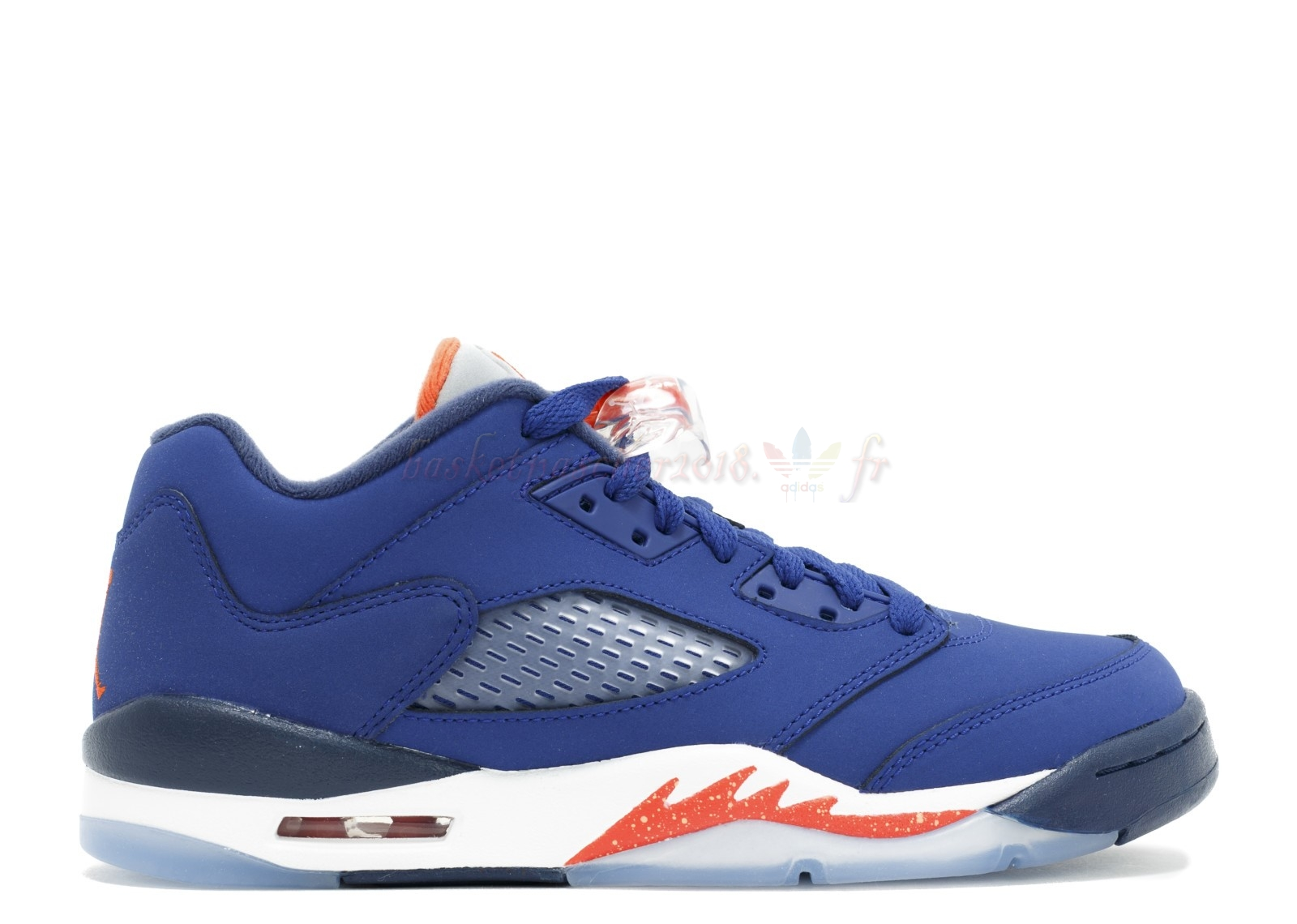 "Vente Chaude Chaussures De Basketball Femme Air Jordan 5 Retro Low (Gs) ""Knicks"" Bleu Orange (314338-417) Pas Cher"