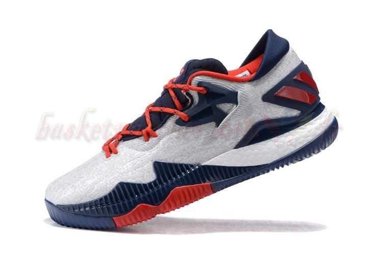 Vente Chaude Chaussures De Basketball Homme Adidas Crazylight Boost Blanc Marine Rouge Pas Cher