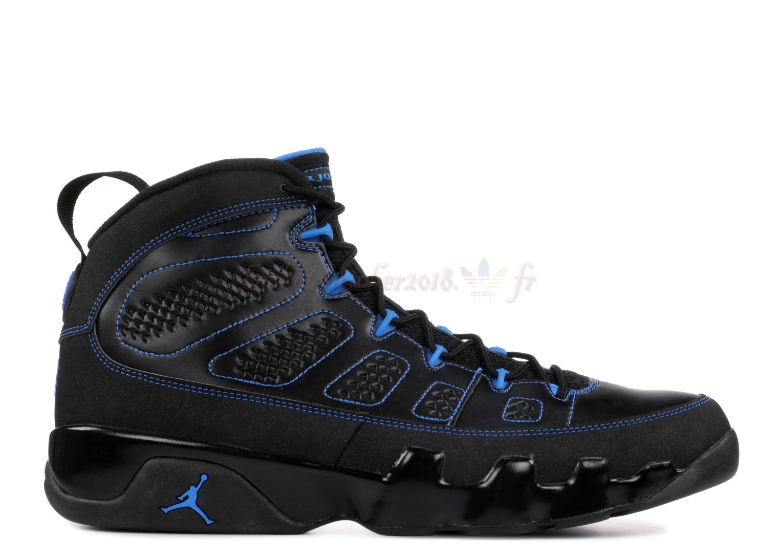 "Vente Chaude Chaussures De Basketball Homme Air Jordan 9 Retro ""Noir Bottom Photo Blue"" Noir (302370-007) Pas Cher"