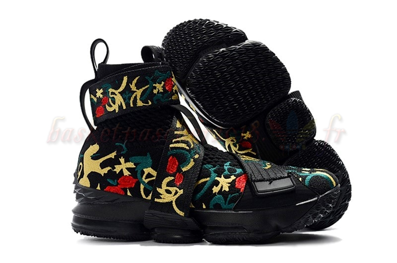 "Vente Chaude Chaussures De Basketball Homme Kith X Nike Lebron Xv 15 Strap ""Long Live The King"" Noir Floral Pas Cher"