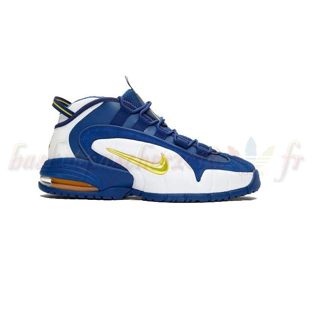 Vente Chaude Chaussures De Basketball Homme Nike Air Max Penny Bleu Blanc Or (685153-401) Pas Cher