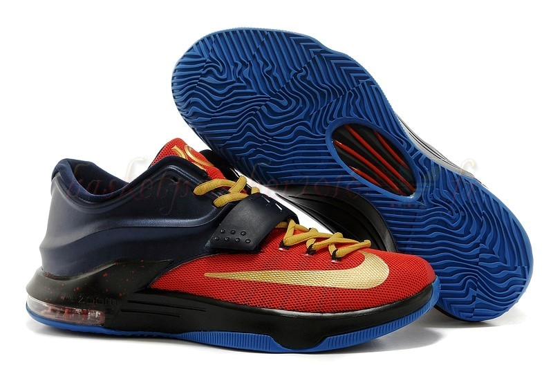 Vente Chaude Chaussures De Basketball Homme Nike Kd Vii 7 Marine Rouge Or Pas Cher