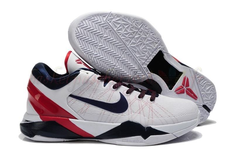 "Vente Chaude Chaussures De Basketball Homme Nike Kobe Vii 7 ""Usa"" Blanc Rouge Marine Pas Cher"