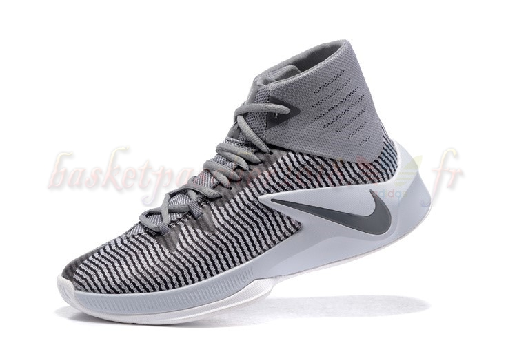 Vente Chaude Chaussures De Basketball Homme Nike Zoom Clear Out Gris Blanc (844370-002) Pas Cher