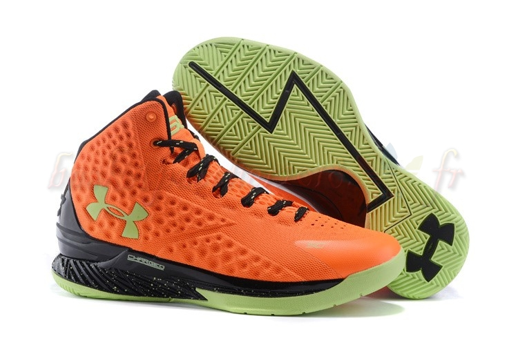 "Vente Chaude Chaussures De Basketball Homme Under Armour Curry 1 ""Bolt Orange"" Orange Noir Pas Cher"