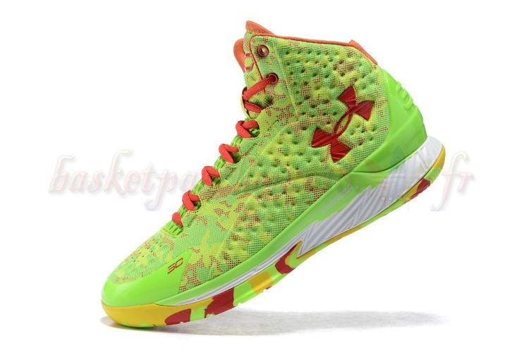 Vente Chaude Chaussures De Basketball Homme Under Armour Curry 1 Camo Volt Jaune Rouge Pas Cher
