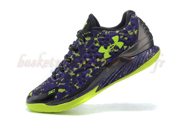 Vente Chaude Chaussures De Basketball Homme Under Armour Curry 1 Low Camo Pourpre Vert Pas Cher