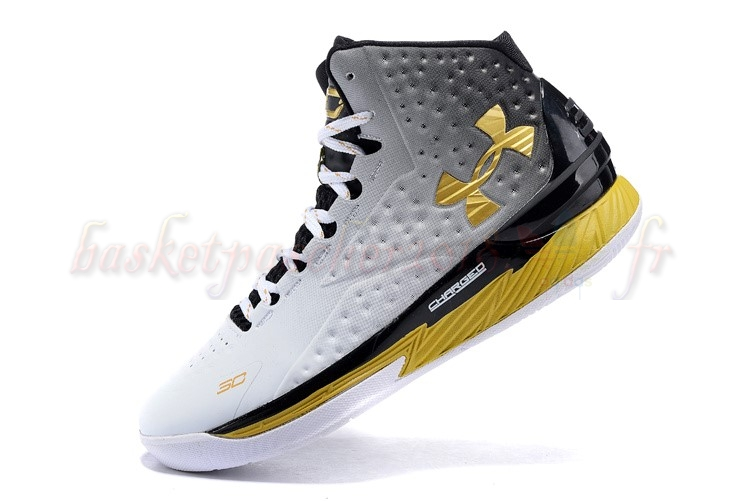 "Vente Chaude Chaussures De Basketball Homme Under Armour Curry 1 ""Mvp"" Noir Blanc Or Pas Cher"