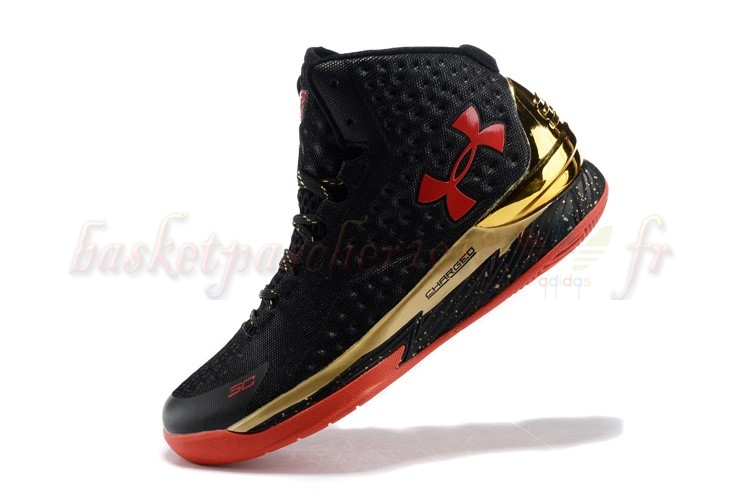 Vente Chaude Chaussures De Basketball Homme Under Armour Curry 1 Noir Or Rouge Pas Cher
