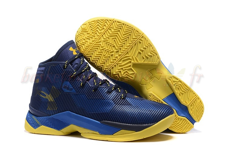 "Vente Chaude Chaussures De Basketball Homme Under Armour Curry 2.5 ""Dub Nation"" Marine Bleu Jaune Pas Cher"
