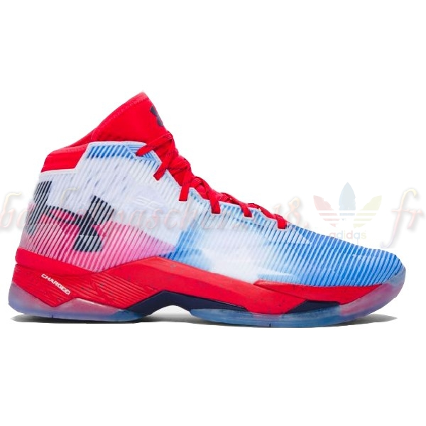 "Vente Chaude Chaussures De Basketball Homme Under Armour Curry 2.5 ""Texas"" Blanc Rouge Pas Cher"