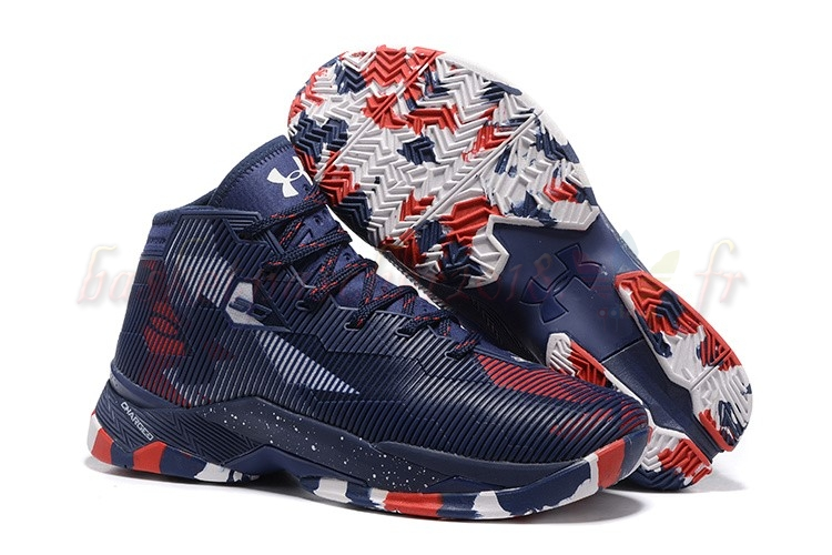 "Vente Chaude Chaussures De Basketball Homme Under Armour Curry 2.5 ""Usa"" Marine Rouge Blanc Pas Cher"