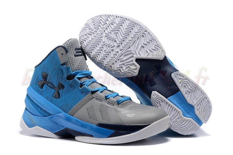 "Vente Chaude Chaussures De Basketball Homme Under Armour Curry 2 ""Electric Blue"" Bleu Gris Pas Cher"