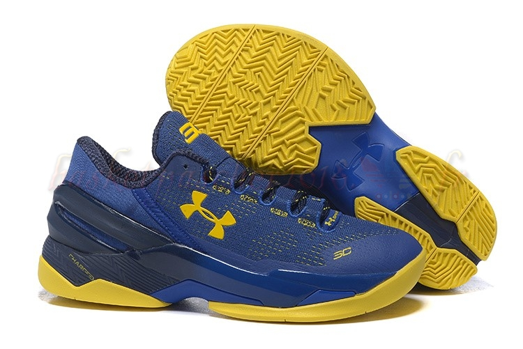 Vente Chaude Chaussures De Basketball Homme Under Armour Curry 2 Low Bleu Jaune Pas Cher