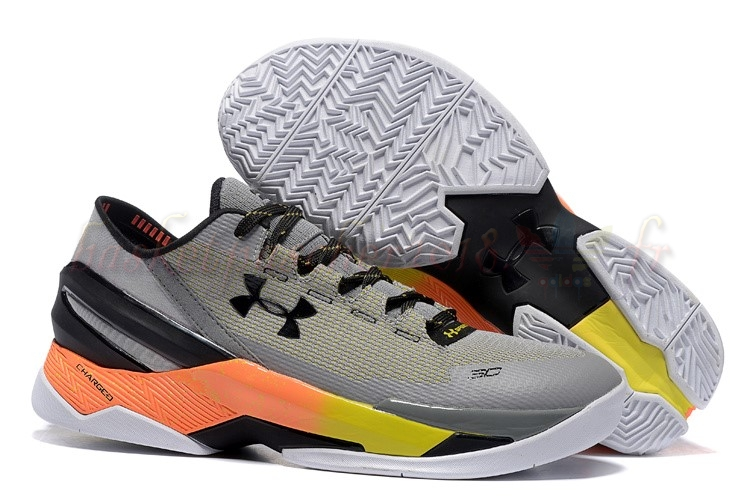 Vente Chaude Chaussures De Basketball Homme Under Armour Curry 2 Low Gris Orange Pas Cher