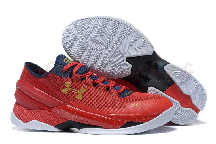 Vente Chaude Chaussures De Basketball Homme Under Armour Curry 2 Low Rouge Or Pas Cher