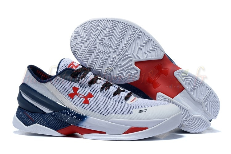 "Vente Chaude Chaussures De Basketball Homme Under Armour Curry 2 Low ""Usa"" Gris Pas Cher"
