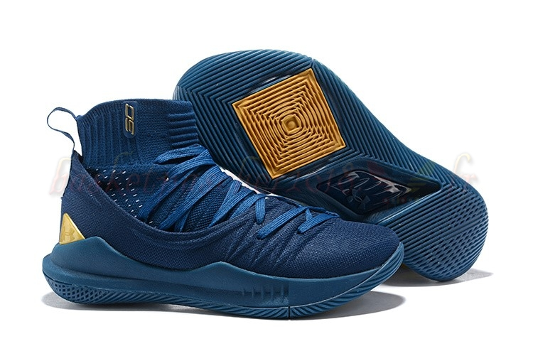 Vente Chaude Chaussures De Basketball Homme Under Armour Curry 5 Marine Or Pas Cher