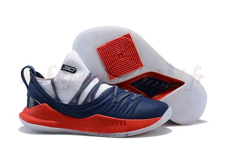 Vente Chaude Chaussures De Basketball Homme Under Armour Curry 5 Marine Rouge Blanc Pas Cher