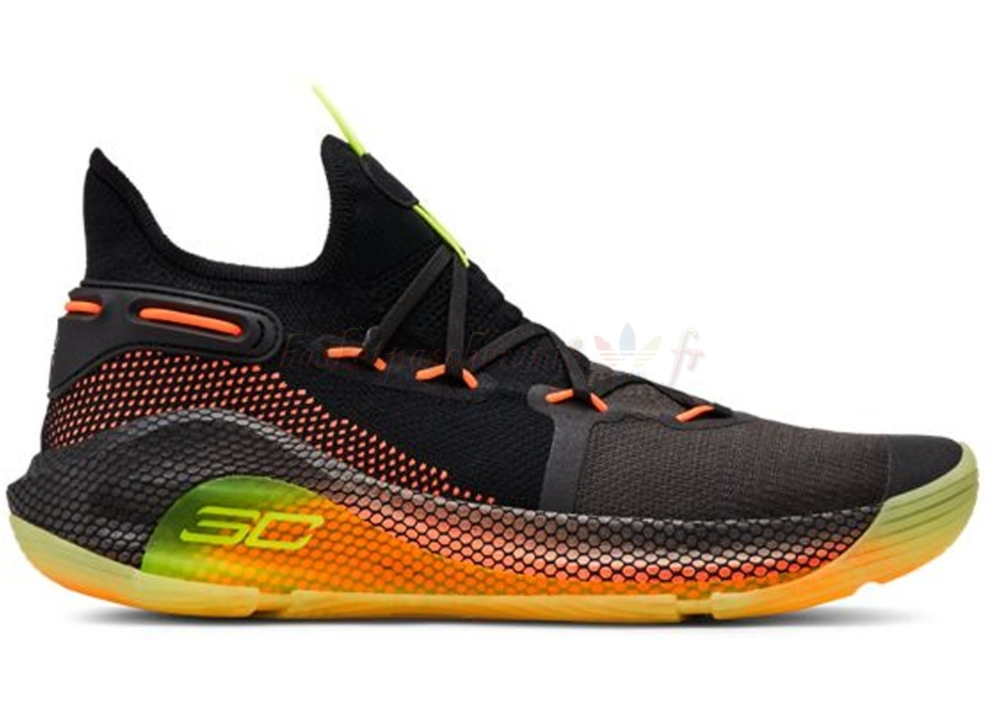 "Vente Chaude Chaussures De Basketball Homme Under Armour Curry 6 ""Fox Theatre"" Noir Jaune (3020612-004) Pas Cher"