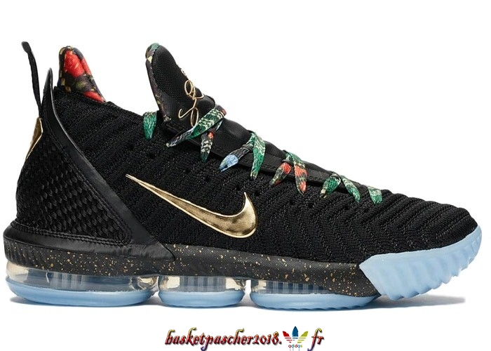 Vente Chaude Chaussures De Basketball Homme Nike Lebron XVI 16 Watch The Throne Noir (CI1518-001) Pas Cher