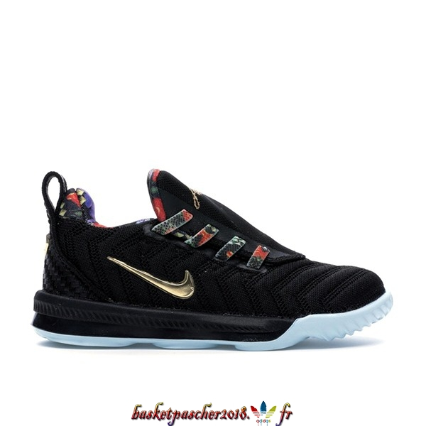 "Vente Chaude Chaussures De Basketball Enfant Nike Lebron XVI 16 (TD) ""Watch The Throne"" Noir (CJ6708-001) Pas Cher"