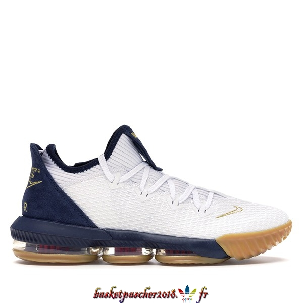 "Vente Chaude Chaussures De Basketball Homme Nike Lebron XVI 16 Low ""Olympic"" Blanc Marine (CI2668-101) Pas Cher"