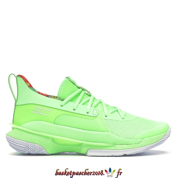 "Vente Chaude Chaussures De Basketball Homme Under Armour Curry 7 ""Sour Patch Kids"" Fluorescent Vert (3021258-302) Pas Cher"