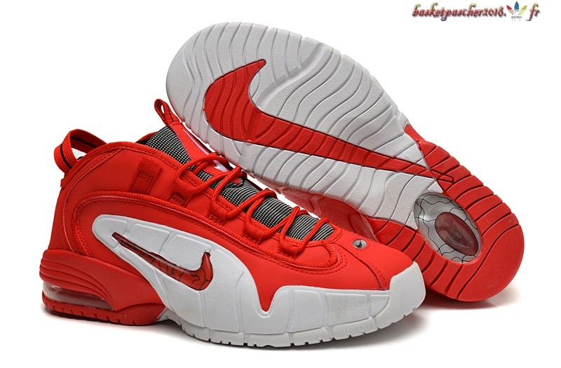 Vente Chaude Chaussures De Basketball Homme Nike Air Penny Rouge Blanc Pas Cher
