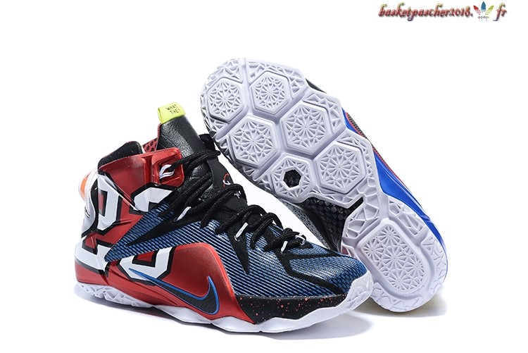 quality design 9b1bf d0cfe Vente Chaude Chaussures De Basketball Homme Nike Lebron 12 Bleu Or Rouge  Pas Cher
